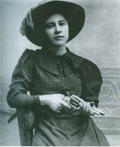 "Before Bonnie fell in love with Clyde, there was Rose Dunn.  15 year old Rose met outlaw George ""Bittercreek"" Newcomb and fell in love. Rose knew how to rope, ride, & shoot, but was more famous for her beauty and gentle ways, and was nicknamed ""Rose of Cimarron"". While her lover robbed banks, Rose tended his gun wounds, until one day when George stopped in to see Rose, her brothers turned in George to the law who ambushed him at her door step. She retired from outlawry and married a politician."