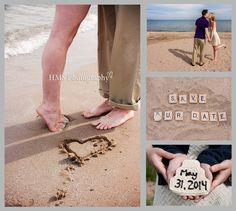 Save the Date - Beach Theme - i love the one on the left, I'd write the date in sand
