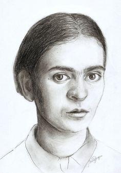 Hoje é o dia dela, Frida Kahlo <3 #fridakahlo #frida #kahlo #drawing #desenho #grafite #retrato