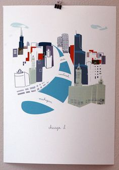 Chicago by albiedesigns on Etsy, $30.00 - Lots of other cities available too!