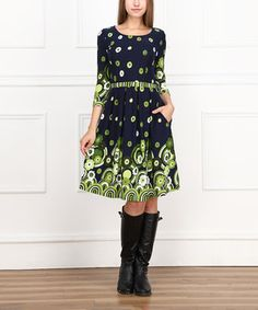 Love this Teal & Navy Flower A-Line Dress by Reborn Collection on #zulily! #zulilyfinds
