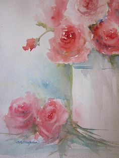 Friendship Roses,  painted for my friends around the world who support my art everyday!  transparent watercolor,  Sandra L. Strohschein!
