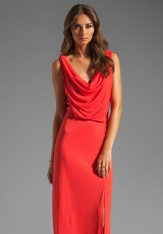 BCBGMAXAZRIA Cowl Neck Maxi Dress in Bright Poppy