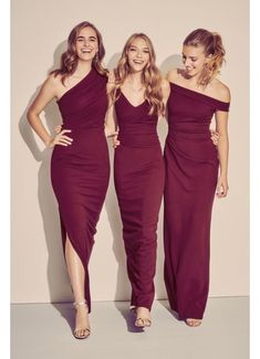 Browse David's Bridal collection of DB Studio bridesmaid dresses in all the latest styles and hottest colors. Shop online or book an appointment today! Wine Bridesmaid Dresses, Wedding Bridesmaids, Wedding Dresses, Midnight Blue Bridesmaid Dresses, Ruched Dress, Crepe Dress, Chiffon Dress Long, Mode Adidas, Davids Bridal