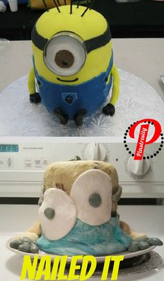 Minion Cake Did someone drop minion into a vat of radioactive acid? Seriously, where did that second eye even come from? This is like Salvador Dali takes on a Pixar flick.
