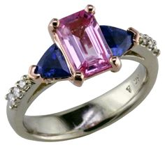 Pink & Blue Sapphire ring In Rose & White golds, by Mardon Jewelers