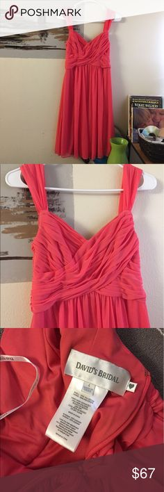 David's bridal coral pink bridesmaid wedding dress It's in like new condition. Only worn once for few hours at a wedding. Perfect dress for bridesmaids Bridal shower or wedding. No flaws or imperfections. Size is 4. True to size. Ask if have any questions. David's Bridal Dresses