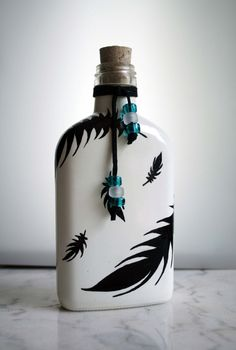 Black Feathers On White Backround Flask or Decorative Bottle with Cork Or Soap Dispenser