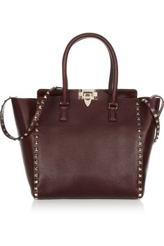 Valentino|Studded textured-leather tote|NET-A-PORTER.COM
