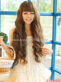 Wholesale Synthetic Wigs - Buy New Womens Cosplay Party Long Corn Curly Wavy Full Wigs Brown Hair Flat Bangs JF2011, $13.26 | DHgate