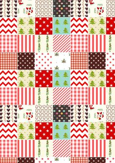 FREE printable Christmas planner stickers   Christmas patchwork pattern