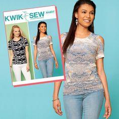 Kwik Sew Sewing Pattern K4207 Misses' Pullover Tops with Cold-Shoulder & Pocket Options … WeaverDee.com