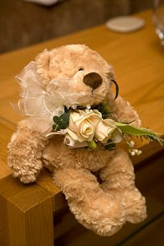 Cute teddy bear with flowers for Flower Girls and young girls in Wedding