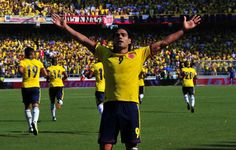 Colombian forward Radamel Falcao Garcia celebrates after scoring against Uruguay in their Brazil 2014 World Cup South American qualifier match, at the Metropolitan Stadium in Barranquilla, Colombia, on September 7, 2012