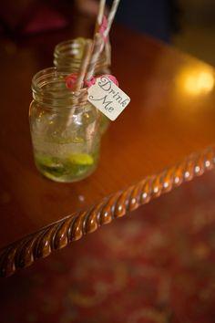Lemonade in jars with straws