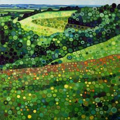 "Ewa Adams ""South Downs"" acrylic on canvas 30x30cm"
