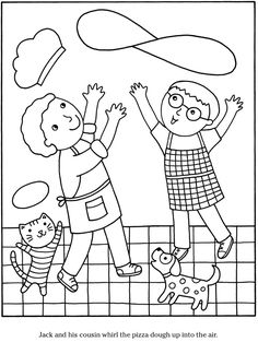 Colouring-in page - sample page from 'Color & Cook Story Coloring Book' via Dover Publications ~s~ Dover Coloring Pages, People Coloring Pages, Adult Coloring Pages, Coloring Sheets, Food Coloring, Coloring Pages For Kids, Coloring Books, Pancake Day Colouring Pages, Printable Crafts