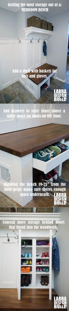 Getting the most storage out of a mudroom bench. Great tips! #bench