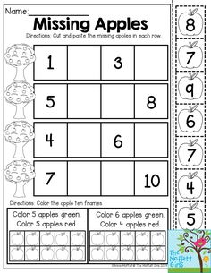 Missing Apples- Cut out the numbers and paste them in the correct order. Then color the ten frames. Such a fun activity for Kindergarten!