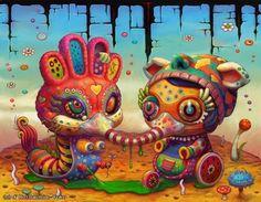 Colorful Beast Creature - Yoko D Holbachie Psychedelic Art, Yokohama, Illustrations, Illustration Art, Beast Creature, Psy Art, Galerie D'art, Pop Surrealism, Weird Art