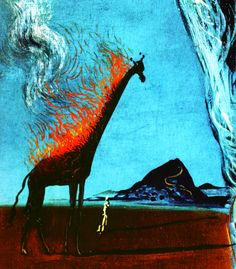 "enespiral: "" Salvador Dalí, The Burning Giraffe (Detail), 1937 """