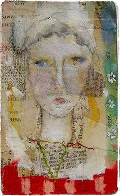 Lunette ~ watercolors, gouache, oil pastels & matte gel medium on old paper / by Lynne Hoppe