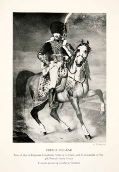 This is an original 1914 black and white halftone print of Prince Eugene of France during the Napoleonic Wars. He was also the commander of the French 4th Army Corps and the Viceroy of Italy. CONDITIO