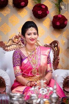 Pink silk saree is a must have in every women's wardrobe. Thus, let's have a look at beautiful blouse designs for pink color silk saree Bridal Sarees South Indian, Wedding Silk Saree, Wedding Saree Blouse Designs, Pattu Saree Blouse Designs, Engagement Saree, Wedding Saree Collection, Designer Blouse Patterns, Bridal Outfits, Trends
