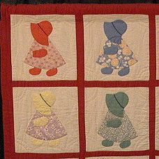 Mom had some Sunbonnet Sue patches from  my great grandmother similar to the quilt shown here.    She used them along with a blank patch that she quilted a flower pot on to  create a quilt she gave to me.  I know at least some of the sunbonnet sues were created from old feed sacks.       Google Image Result for http://www.equilters.com/library/gallery/SSue/images/sue-hart-det.jpg