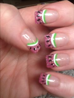 Watermelon nails these are super cute! I could and would do these.