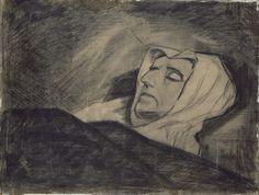 Vincent van Gogh, Vrouw op haar doodsbed, 1881-1882, Brussel, potlood, penseel in inkt, op papier, Van Gogh Museum Amsterdam.