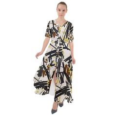 Abstract Brushstrokes Natural Maxi Dress Chiffon Fabric, Boho Dress, Creative Design, Wrap Dress, Cover Up, Floral Prints, Tie, Abstract, Natural