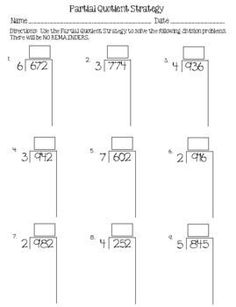 Division Strategies: Partial Quotient Strategy Fold-Up & Teaching Division, Math Division, Long Division, Teaching Decimals, Teaching Math, Primary Teaching, Fifth Grade Math, Fourth Grade, Partial Quotient Division