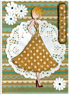 Prima Julie Nutting Doll Stamp - Doll With Swing Dress