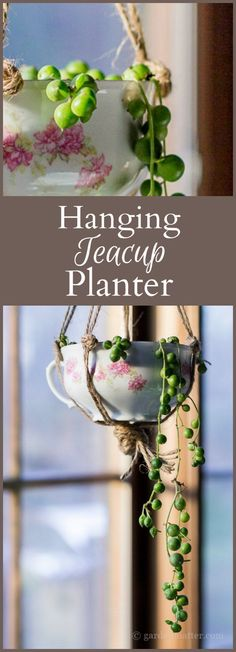 Learn how to create a hanging teacup planter by upcycling a china cup and planting it with a proper plant, using twine to create a hanger.