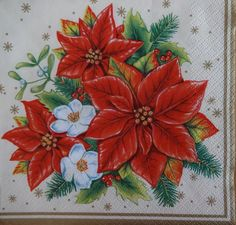 Single Lunch Party Paper Napkins for Decoupage Decopatch Craft Poinsettia Poinsettia Cards, Christmas Poinsettia, Christmas Balls, Xmas, Paper Napkins For Decoupage, Christmas Napkins, Pocket Letters, Pretty Wallpapers, Christmas Decorations