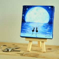 CUADRO HORMIGAS NOCHE 10X10CM Canvases, Push Gifts, Atelier, Night, Illustrations, Projects