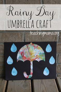 Rainy Day Umbrella Craft -- create a colorful, swirled looking umbrella using shaving cream!
