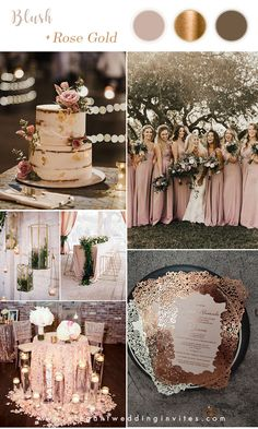 stunning blush pink and rose gold wedding color palette ideas gold wedding themes 6 Stunning Metallic Wedding Color Palettes with Matching Invitations Metallic Wedding Colors, Glitter Wedding, Rose Wedding, Fall Wedding, Dream Wedding, Pink And Gold Wedding Themes, Colour Themes For Weddings, Rose Gold Weddings, May Wedding Colors