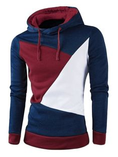 Allonly Mens Fashion Color Block Double Zip-up Hoodie Windbreaker Jacket