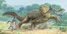 Pristichampsus Attacking Early Horses  Pristichampsus is an extinct crocodile relative that could grow up to 10 feet long. The armored reptile lived mostly on land, and fed on land mammals like these early horses.