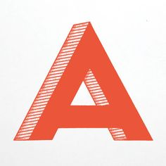 letter a. red. block. shadow. type.