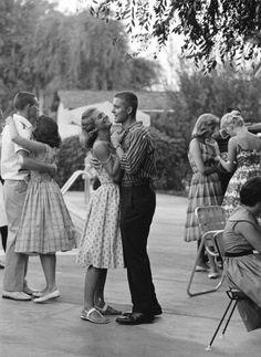 Teenager Suzie Slattery dances with her boyfriend, Ted Sten. 1959 California
