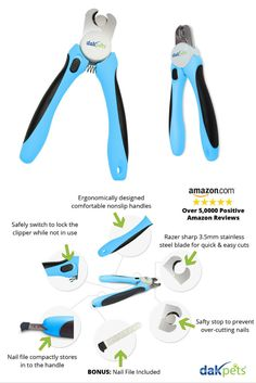 PROFESSIONAL QUALITY large dog nail clippers - trim your dogs nails with  ease and take the