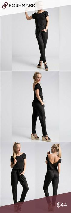 💋COMFY💋 Black Low Back Jumpsuit NWOT...Brand new comfortable black jumpsuit with a low back. It has an elastic waistband and cap sleeves. This is a bit more on the casual side😊 Made of 97% polyester and 3% spandex. Measurements given upon request. 🚫No trades and 🚫NO OFFERS🚫 on boutique items. Thanks💋 Fashionomics Pants Jumpsuits & Rompers