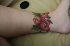 *not my tattoo* Latest from Christel at Electric Quill in Boulder. Flowers from the wallpaper in my room of the first house I lived in on my own. Represents growing up and all that jazz. I love that funky wallpaper and thought it'd translate to a tattoo well. Came out beautiful.