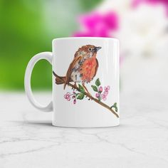 Watercolour Bird mug Watercolor Bird on a branch with flowers spring gift for girfriend, gift for her, gift for children, Bird coffee mug Watercolor Bird, Watercolor Animals, Gifts For Kids, Gifts For Her, Animal Mugs, Cat Mug, Novelty Gifts, Vibrant Colors, Coffee Mugs