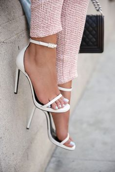 These pretty white ankle-strap heels are perfect for summer and spring.
