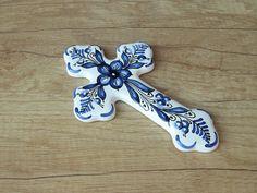 Blue Flower Ceramic Cross. Ceramic Wedding Gift. by HabanCeramic, $16.00
