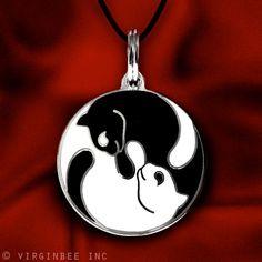 enamel pendant - yin yang cats